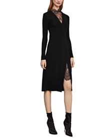 BCBGMAXAZRIA Lace-Trim Midi Dress