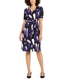 Petite Printed Tie-Waist Dress, Created For Macy's