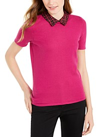 Short-Sleeve Collar Sweater, Created For Macy's