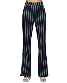 Pinstriped Flare-Leg Pants
