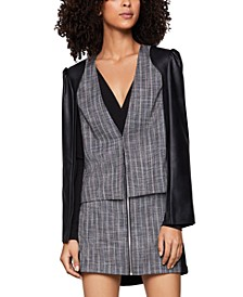 Faux-Leather-Sleeve Tweed Blazer