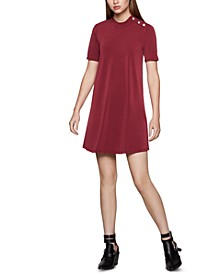 Mock-Neck Trapeze Dress