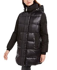 Faux-Fur-Trim Collar Hooded Puffer Coat