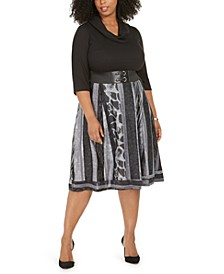 Plus Size Ribbed-Top Belted Animal-Print Dress