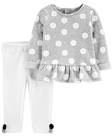 Baby Girls 2-Pc. Dot-Print Top & Sweater Leggings Cotton Set