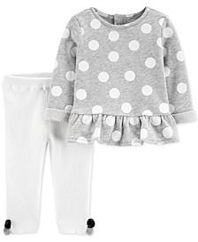 Baby Girls 2-Pc. Dot-Print Top & Sweater Leggings Cotton Set