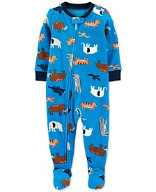 Baby Boys 1-Pc. Animal-Print Fleece Footie Pajamas