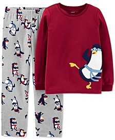 Little & Big Boys 2-Pc. Fleece Ninja Penguin Pajamas Set
