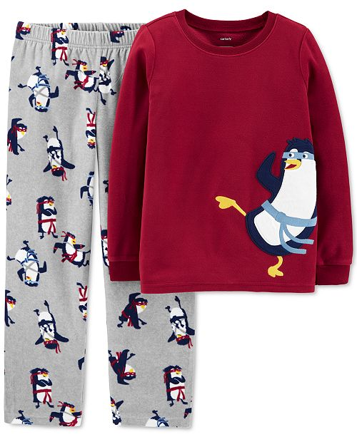 Carter's Little & Big Boys 2-Pc. Fleece Ninja Penguin Pajamas Set