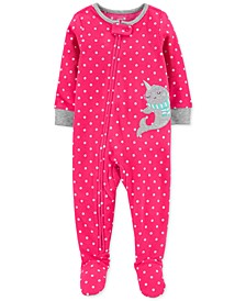 Baby Girls 1-Pc. Narwhal Fleece Footie Pajamas