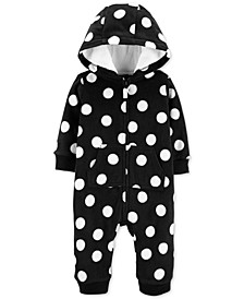 Baby Girls Dot-Print Fleece Coverall