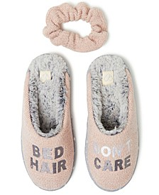 Women's 'Bad Hair Don't Care' Chenille Scuff Slipper with Scrunchie, Online Only