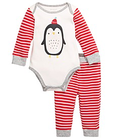 Baby Boys 2-Pc. Cotton Penguin Bodysuit & Pants Set, Created For Macy's