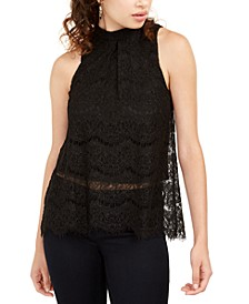 Juniors' Metallic Lace Top