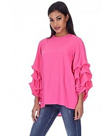 Women's Cerise Ruffle Sleeve Top