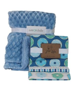 3 Stories Trading Amor Bebe Diamond Plush and Donuts Baby Blanket Gift Set