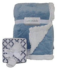 Amor Bebe Etched Cloud Sherpa Blanket and Receiving Blankets Gift Set