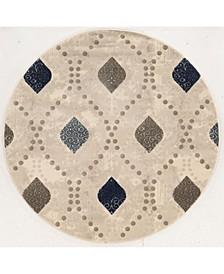 """CLOSEOUT! 3797/1005/BONE Imperia Ivory/ Cream 7'10"""" x 7'10"""" Round Area Rug"""