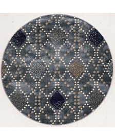 "CLOSEOUT! 3797/1024/Gray Imperia Gray 5'3"" x 5'3"" Round Area Rug"
