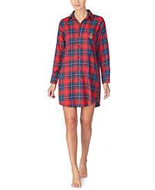 Cotton Brushed-Twill Plaid Sleepshirt Nightgown
