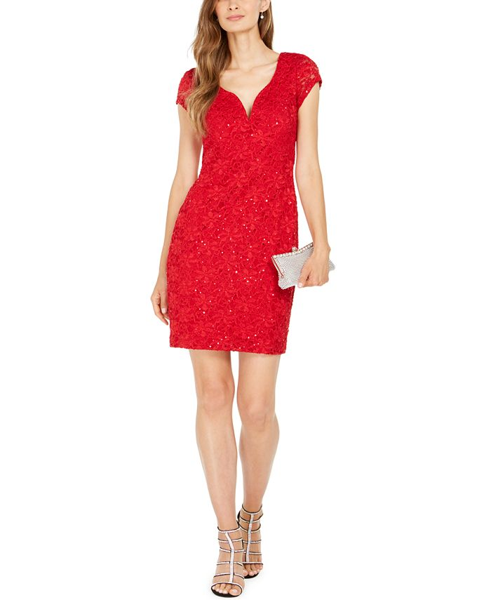 Connected - Sequined Lace Sweetheart Sheath Dress