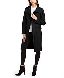 Vince Camuto Asymmetrical Faux-Fur-Collar Coat
