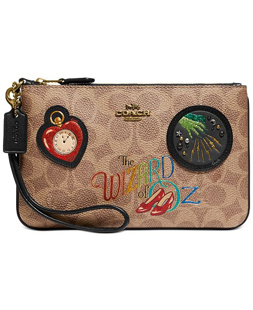 COACH Box Program Coated Canvas Signature Wizard Of Oz Small Wristlet