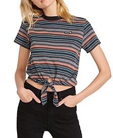 Juniors' So Far Out Tie-Front T-Shirt