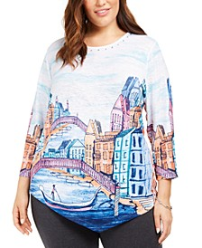 Plus Size Road Trip Scenic Print Embellished Top
