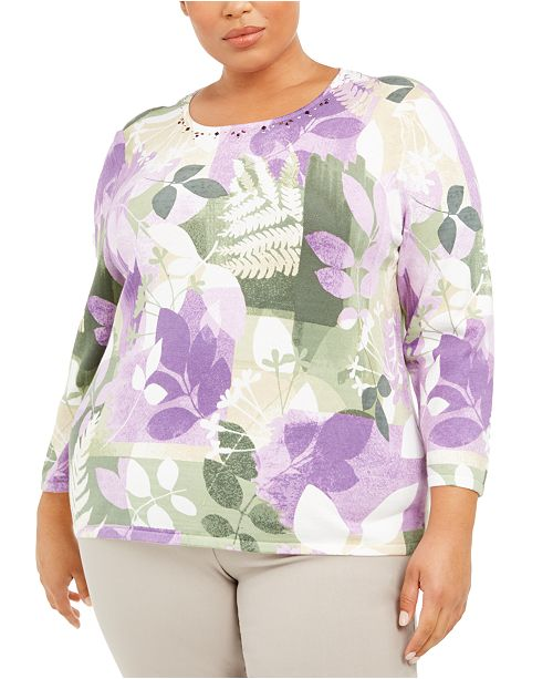 Alfred Dunner Plus Size Loire Valley Cotton Sweater