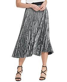 Pleated Velvet Pull-On Skirt