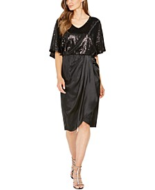Sequined Draped Blouson Dress, Created For Macy's