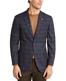 Men's Modern-Fit Active Stretch Medium Blue/Brown Windowpane Sport Coat