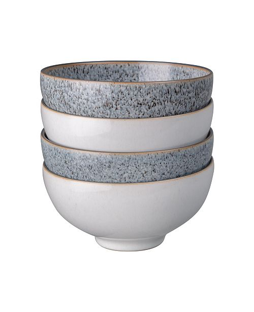 Denby Studio Craft Grey/White 4 Piece  Rice Bowl Set