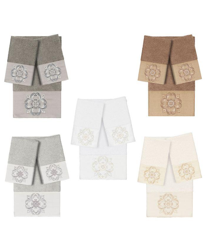 Linum Home - 100% Turkish Cotton Alyssa 3-Pc. Embellished Towel Set