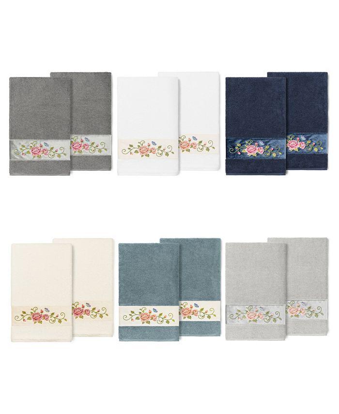 Linum Home - 100% Turkish Cotton Rebecca 2-Pc. Embellished Bath Towel Set