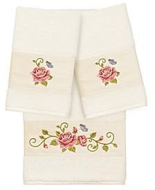 100% Turkish Cotton Rebecca 3-Pc. Embellished Bath and Hand Towel Set