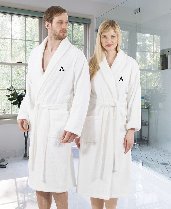 Linum Home - 100% Turkish Cotton Personalized Terry Bath Robe - White