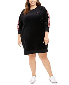 Plus Size Velour Logo-Tape Dress