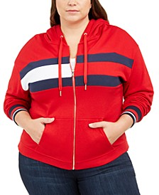 Plus Size Flag Colorblocked Zip-Front Hooded Sweatshirt