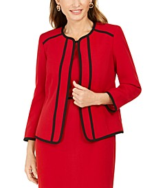 Petite Piping-Trim Collarless Blazer