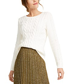 Imitation-Pearl Cable-Knit Sweater, Created For Macy's