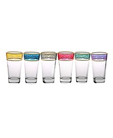 Set of 6 Tumblers with Gold-tone Design