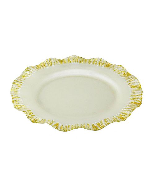 Classic Touch Set of 4 Pearly Milky Chargers with Scalloped Gold-tone Border