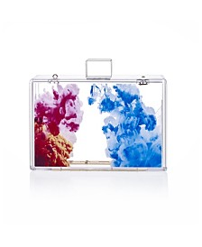 Milanblocks Abstract Oil Paint Acrylic Lucite Box Clutch