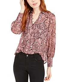 Snake-Printed Button-Up Top