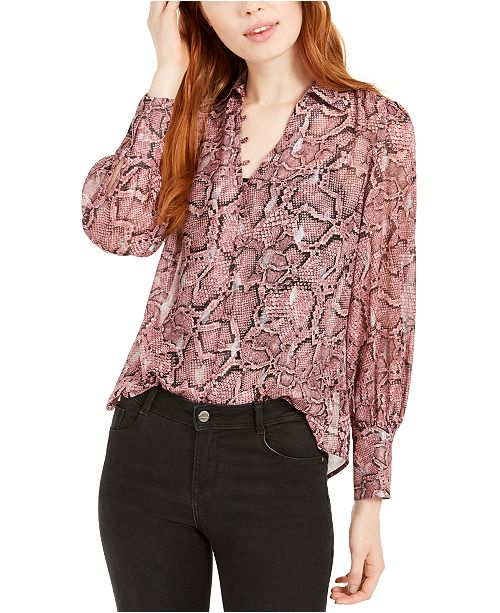 1.STATE Snake-Printed Button-Up Top