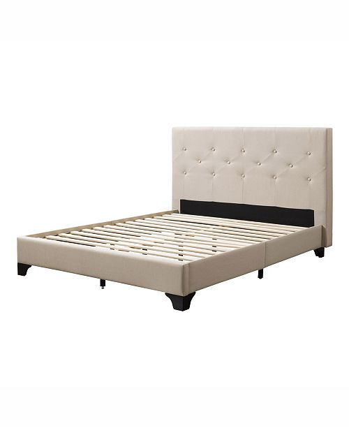Corliving Distribution Nova Ridge Diamond Button-Tufted Bed and Frame, Full