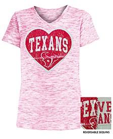 Big Girls Houston Texans Heart Flip Sequin T-Shirt