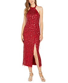 Sequinned Halter Midi Dress